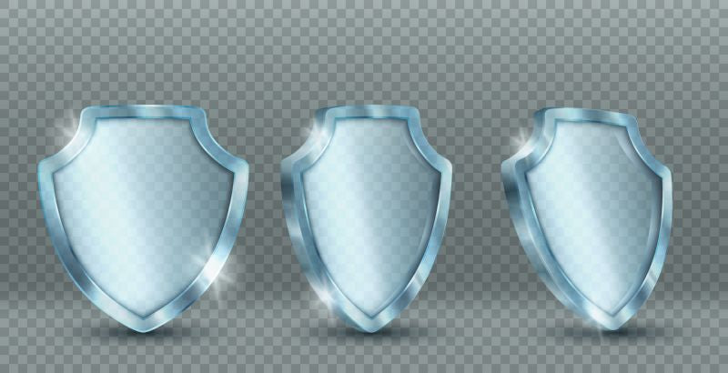 Transparent glass shield. Vector 3d icon of  #581
