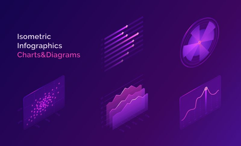 Isometric infographic charts and diagrams. Vector abstract  #846
