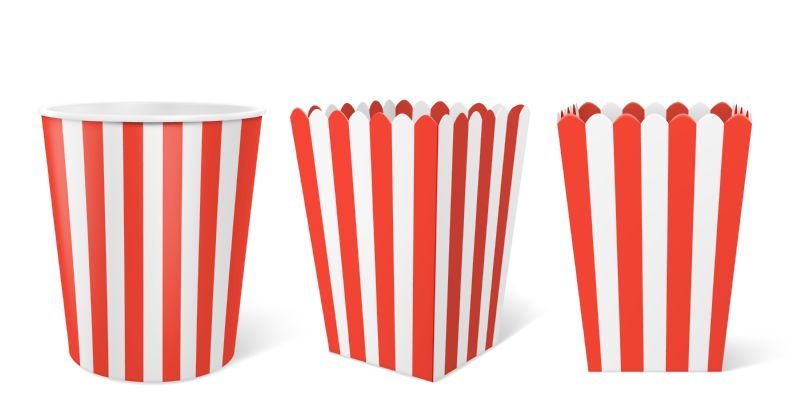 Striped paper box for popcorn isolated on  #287