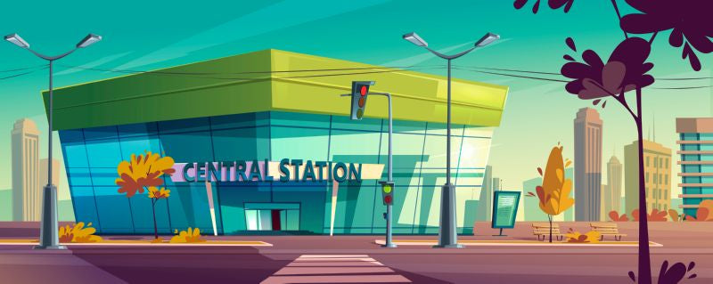 Central station for bus or train. Vector  #520