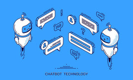 Chatbot technology isometric banner. Ai robot customer  #818