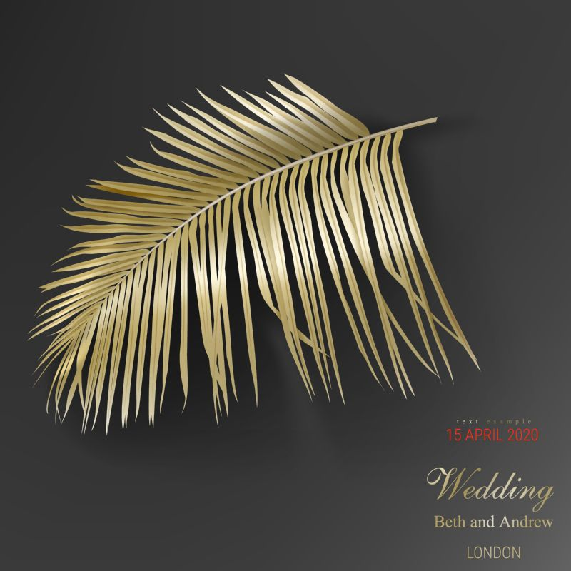 Tropical golden palm leaves on black background  #215