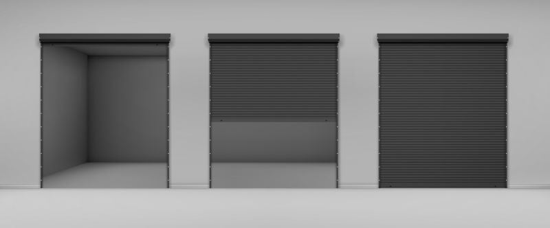 Gate with black rolling shutter in gray  #283