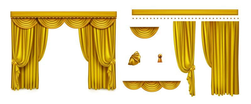 Golden curtains for theater stage or cinema.  #862