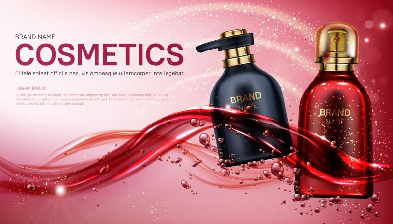 Cosmetics bottles mock up banner. Beauty product  #588