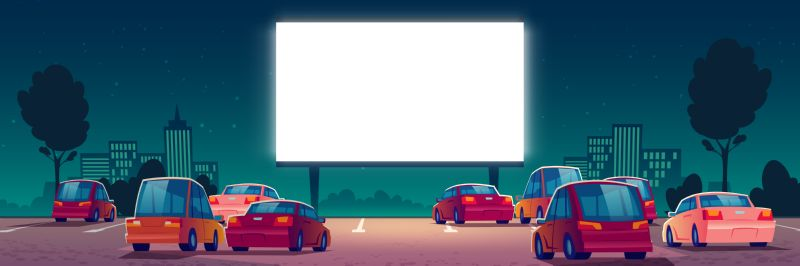 Outdoor cinema, drive-in movie theater with cars  #597