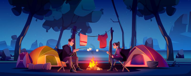 Free vector. Summer camp with couple, tent and campfire  #234
