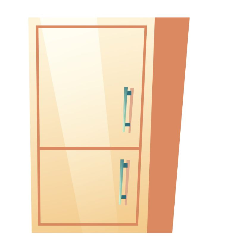 Bathroom cabinet with closed door. Vector fridge  #491