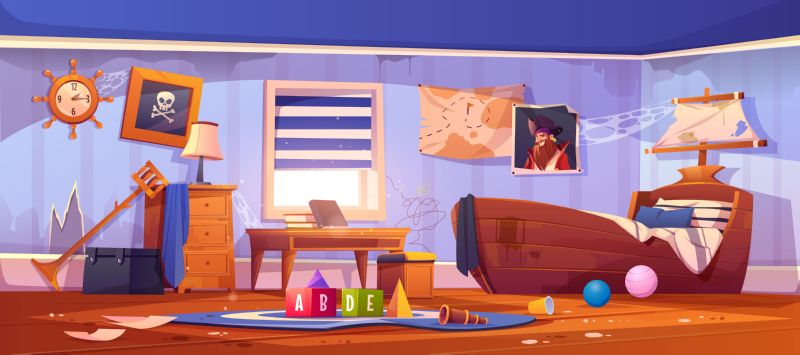 Free vector. Abandoned kids bedroom in pirate style, neglected  #235