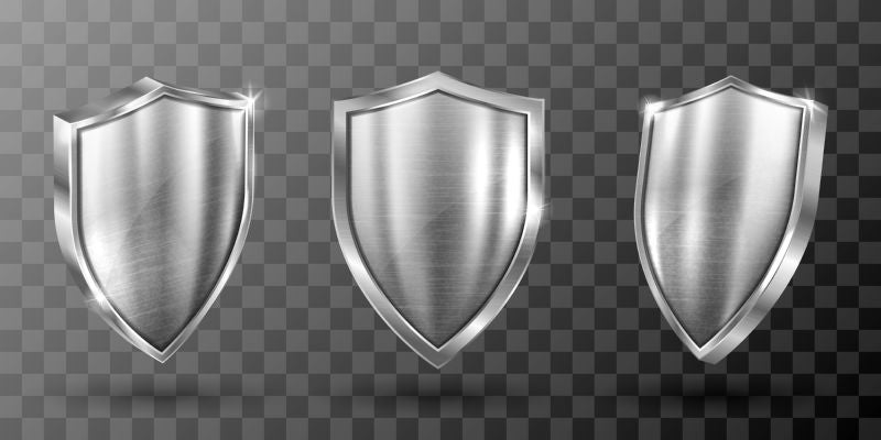 Metal shield with frame realistic vector illustration.  #813