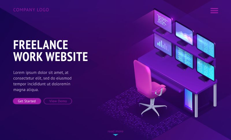 Freelance work website isometric landing page. Workplace  #819