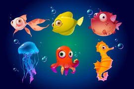 Cute sea animals, fish, octopus, jellyfish. Vector  #841