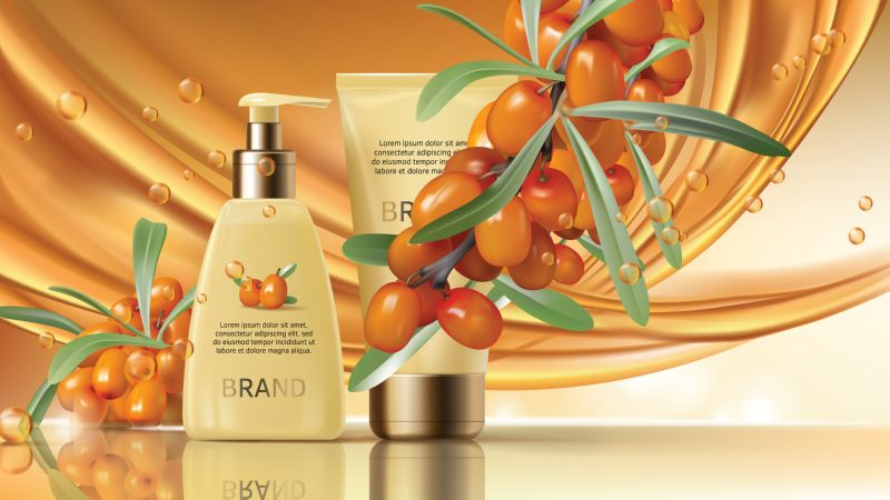 Free vector. Sea buckthorn cosmetics vector realistic ads poster.  #61