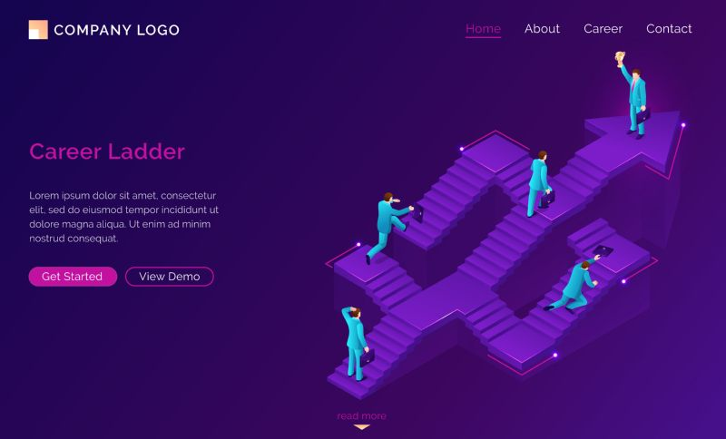 Career ladder isometric landing page. New opportunity,  #271