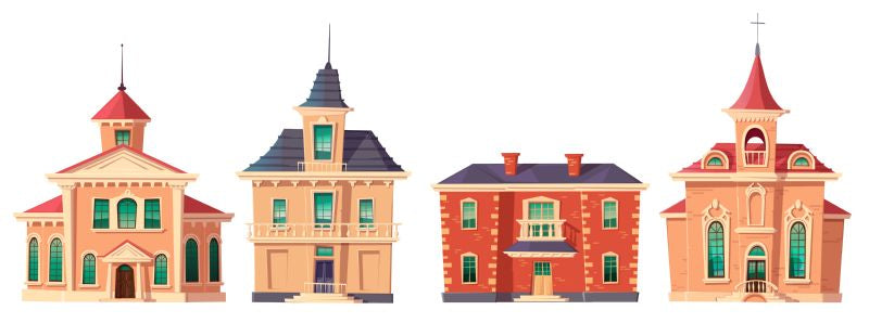 Urban retro colonial style building cartoon vector  #509