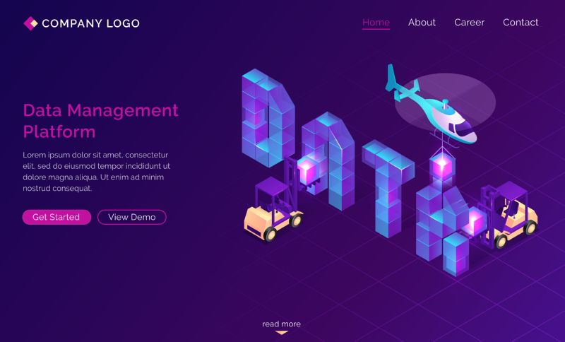 DMP, Data management platform isometric landing page.  #686