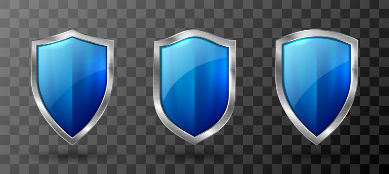 Blue shield metal frame realistic vector illustration.  #572