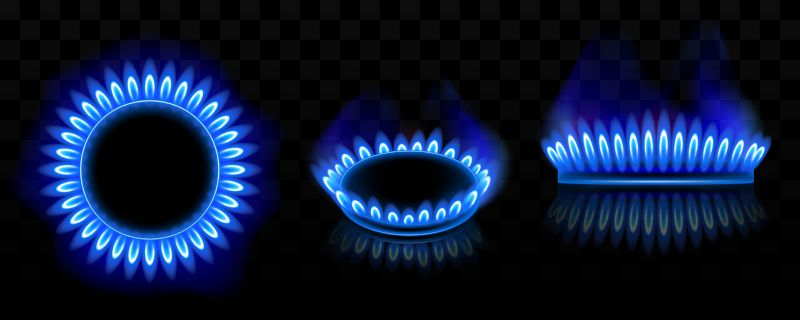Gas burner with blue flame, glowing fire  #843
