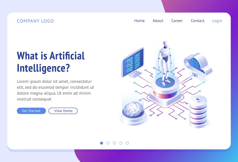 Ai, artificial intelligence isometric landing page. Cyborg  #689