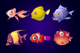 Sea fish set, tropical colorful aquarium and  #836