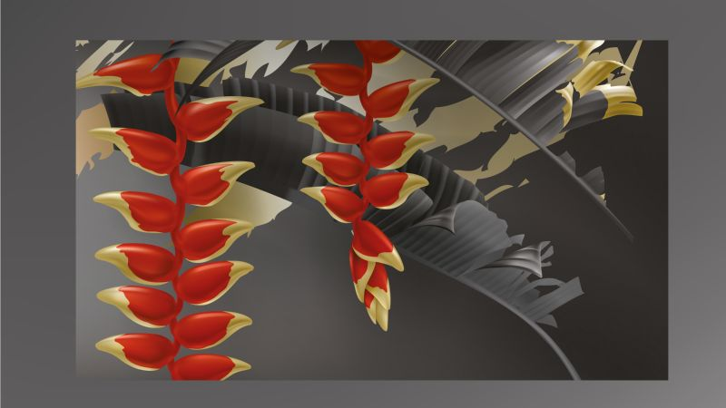 Tropical black gold leaves on dark background  #387