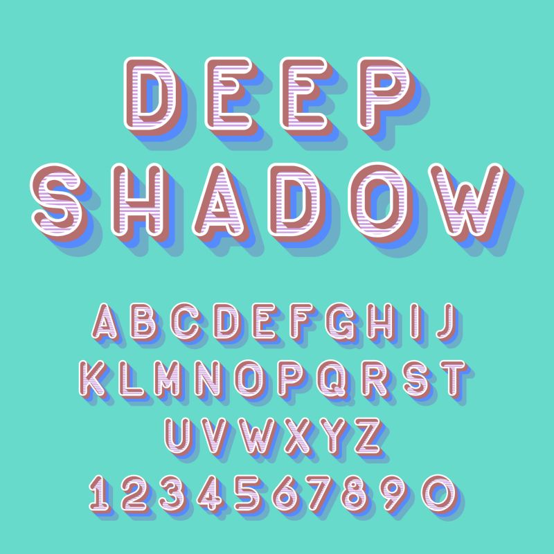 Cool deep shadow isometric font vector illustration.  #420