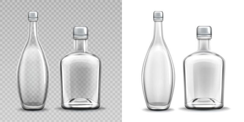 Vodka and liquor glass bottles realistic vector  #518