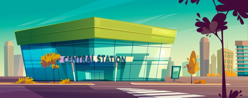 Central station for bus or train. Vector  #519
