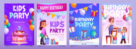 Free vector. Kids birthday party invitation banners. Girl receive  #542