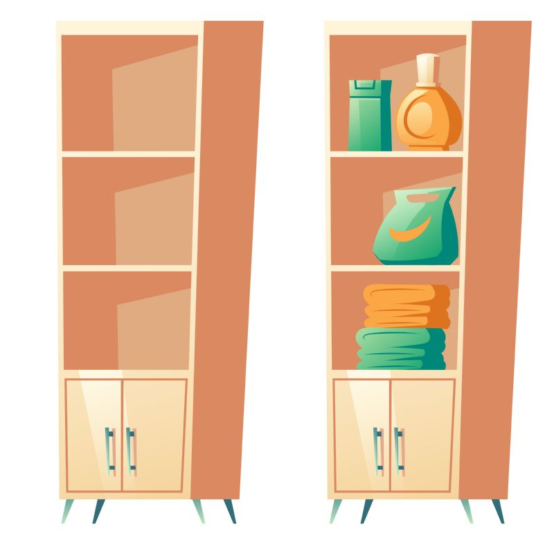 Bathroom rack with shelves for towels, detergents  #501