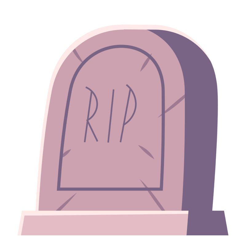 Cemetery symbol, tombstone with RIP inscription, cartoon  #536