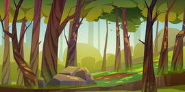 Free vector. Cartoon forest background, nature landscape with deciduous  #412