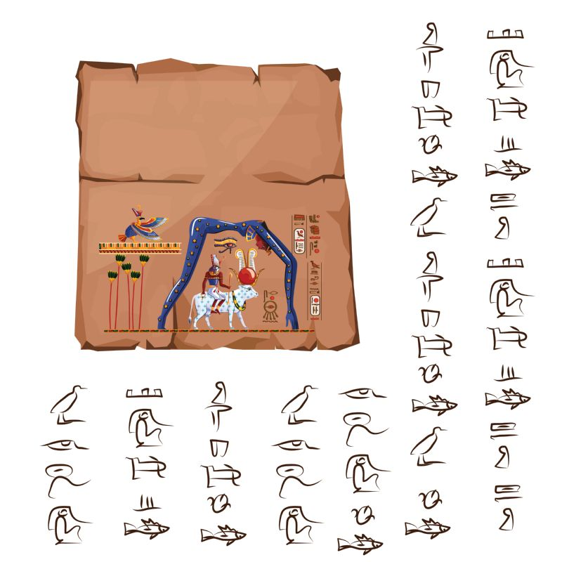 Ancient Egypt papyrus or stone cartoon vector  #403