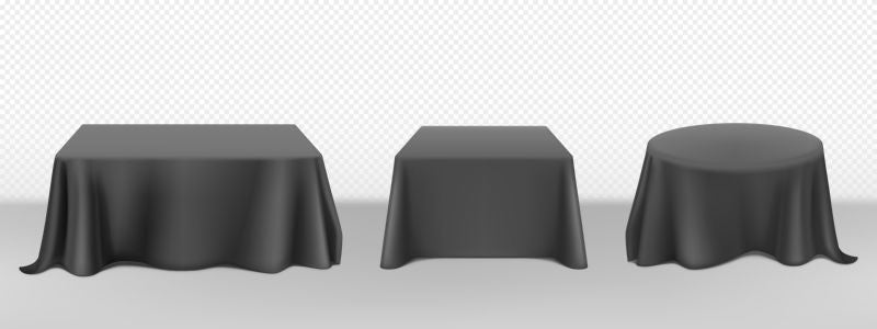 Black tablecloth on round square tables. Vector  #295