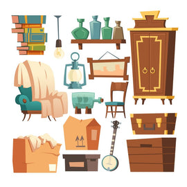 Old retro furniture set cartoon vector illustrations.  #677