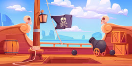 Free vector. Pirate ship wooden deck onboard view, boat  #233