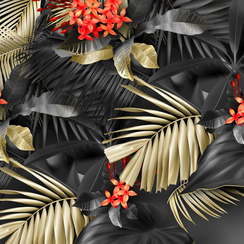 Tropical black and gold leaves on dark  #69