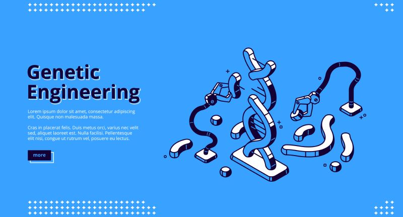 Genetic engineering isometric landing page, robotics arms  #206