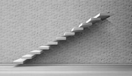3d stairs, white staircase on brick wall  #284
