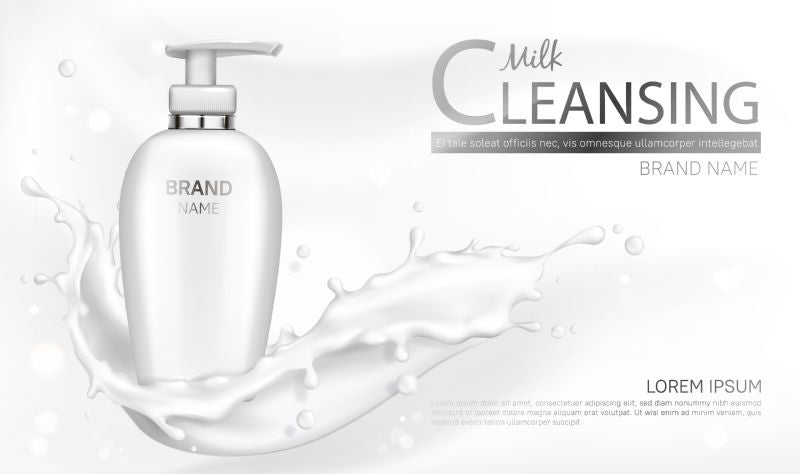 Milk cleansing cosmetics bottle mockup banner. Skin  #521