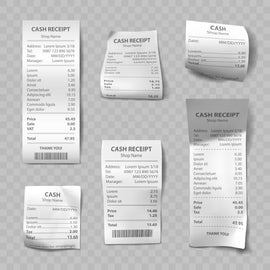Free vector. Shop receipt set of realistic isolated vector  #777