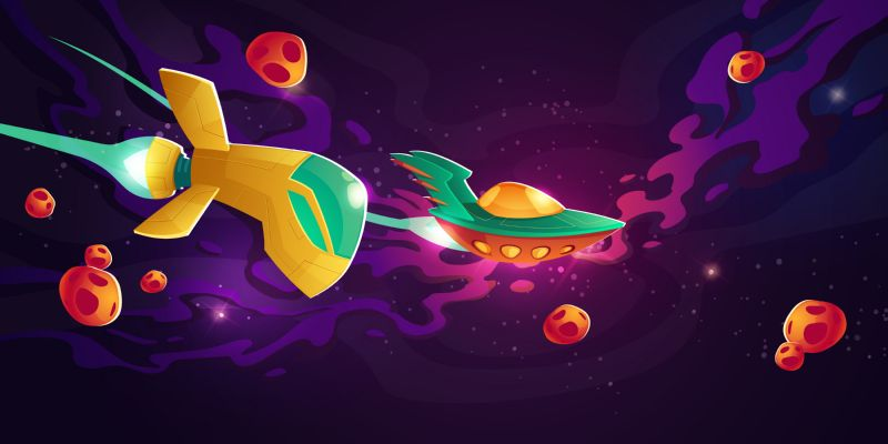Spaceships race in outer space. Galactic competition  #244