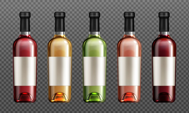 Wine glass bottles with red, green, golden  #612