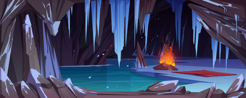 Bonfire in dark ice cave with snow,  #636