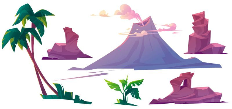 Volcano with smoke, rocks and palm trees  #848