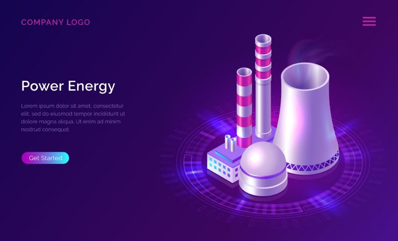 Power energy isometric concept vector illustration. Nuclear  #428