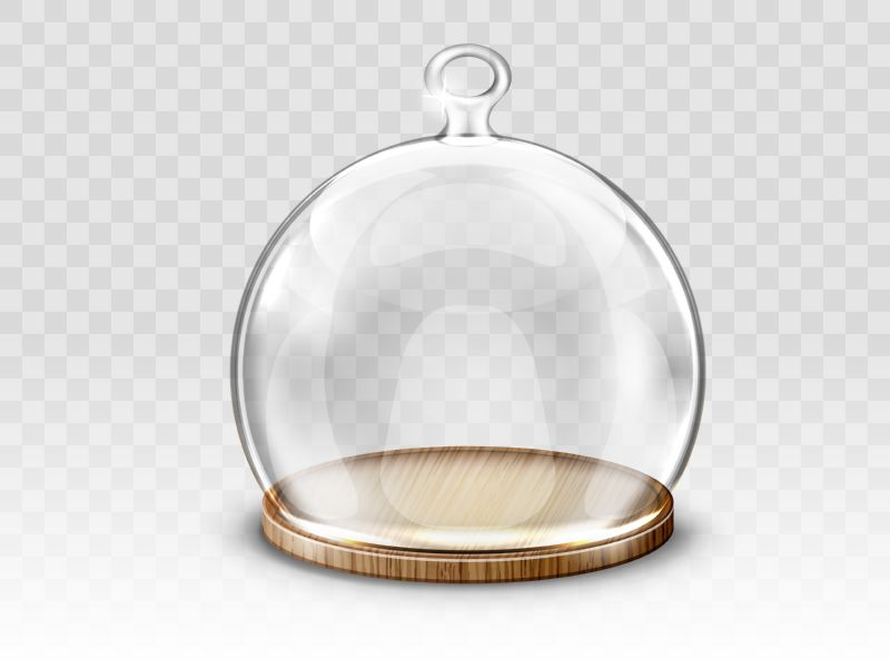 Glass christmas ball, hanging dome and wooden  #574