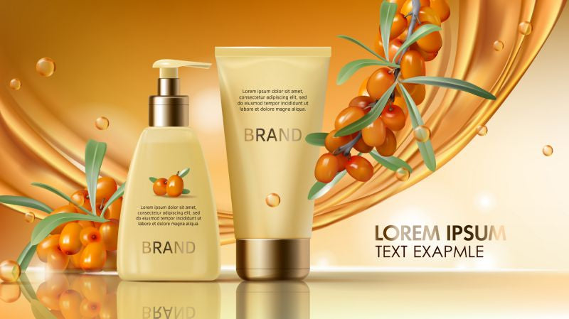 Sea buckthorn cosmetics vector realistic ads poster.  #28