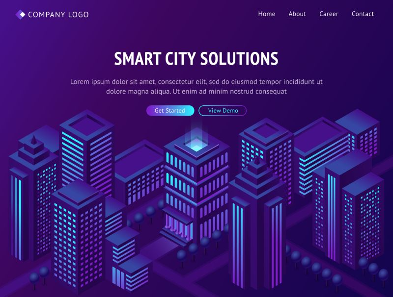 Smart city solutions isometric landing page, futuristic  #442