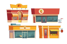 Free vector. Fast food restaurant and shops building cartoon  #779